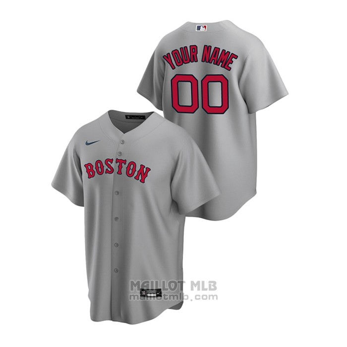 Maillot Baseball Homme Boston Red Sox Personnalise Replique Road Gris