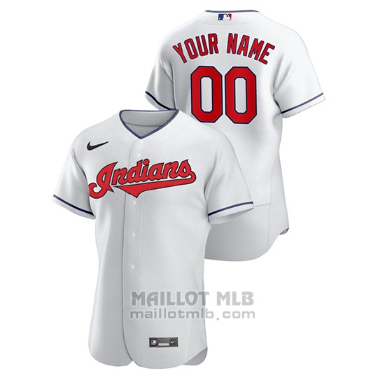 Maillot Baseball Homme Cleveland Indians Personnalise Authentique Nike Blanc