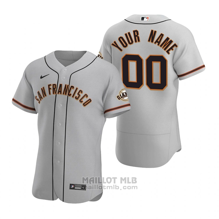 Maillot Baseball Homme San Francisco Giants Personnalise Authentique 2020 Road Gris