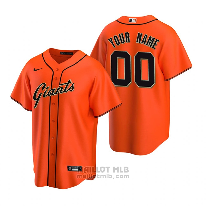 Maillot Baseball Homme San Francisco Giants Personnalise Replique Alterner Orange